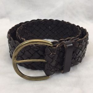 "Accessories - Genuine leather braided belt | 38"" long x 2"" wide"